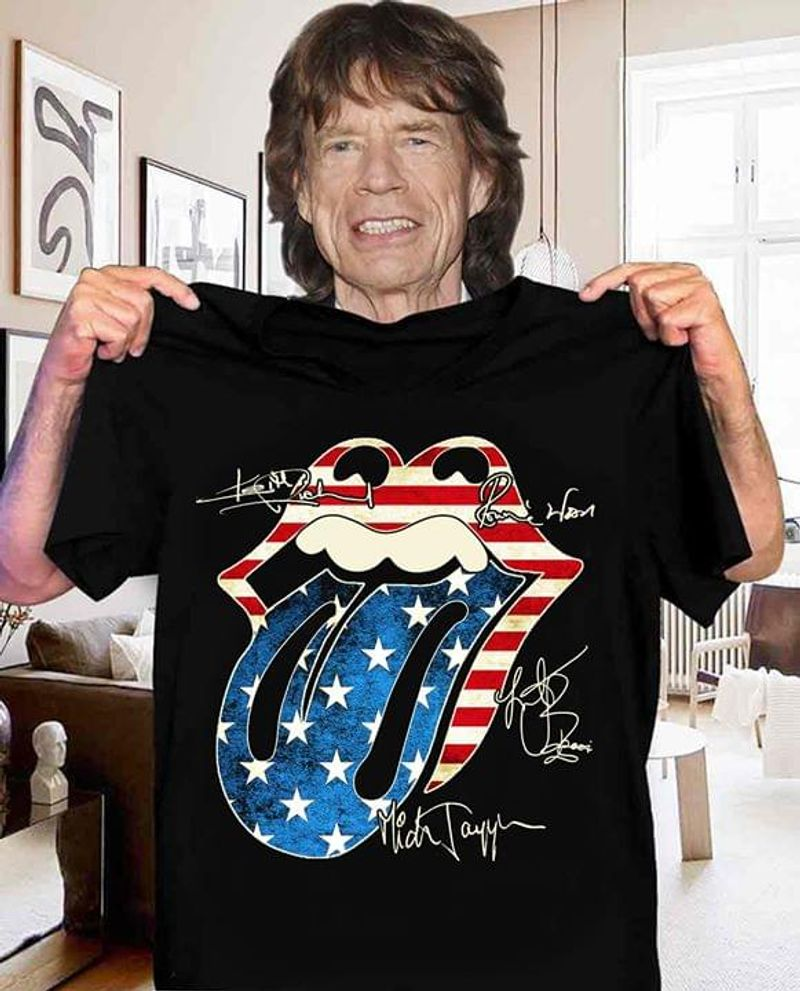 The Rolling Stones US Flag 4 Of July Independence Day Signature  Lovers Black  T Shirt Men/ Woman S-6XL Cotton