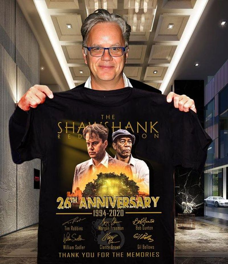 The Shawshank Redemption 26th Anniversary 1994-2020 Thank You For The Memories Signature Black T Shirt Men And Women S-6XL Cotton