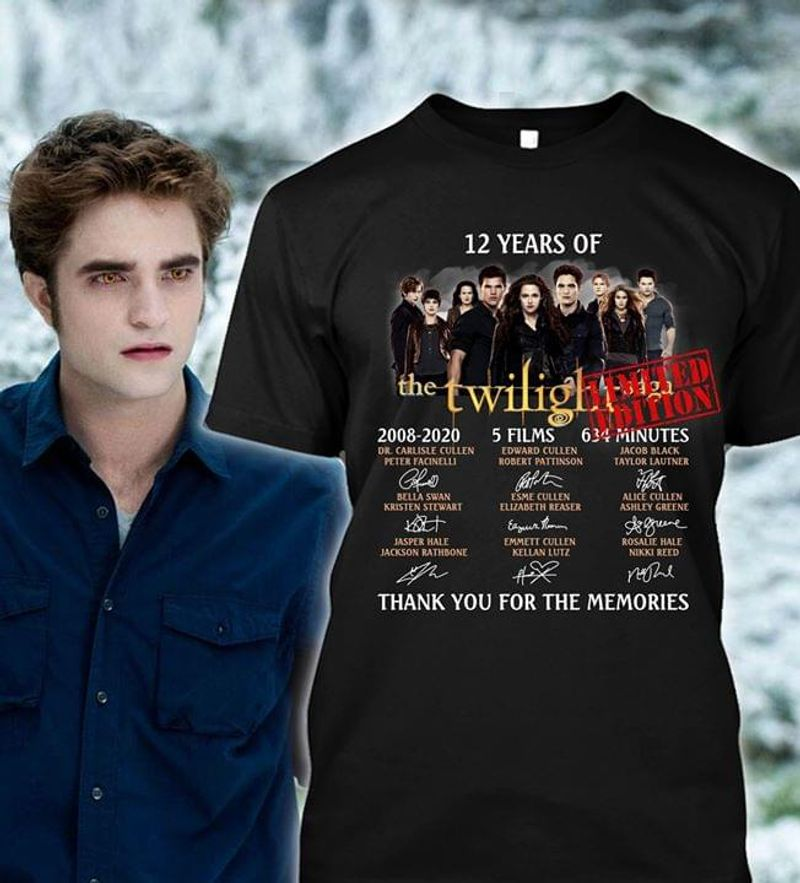 The Twilight Saga 12 Year Of Thank You For The Memories Signature Black T Shirt Men/ Woman S-6XL Cotton