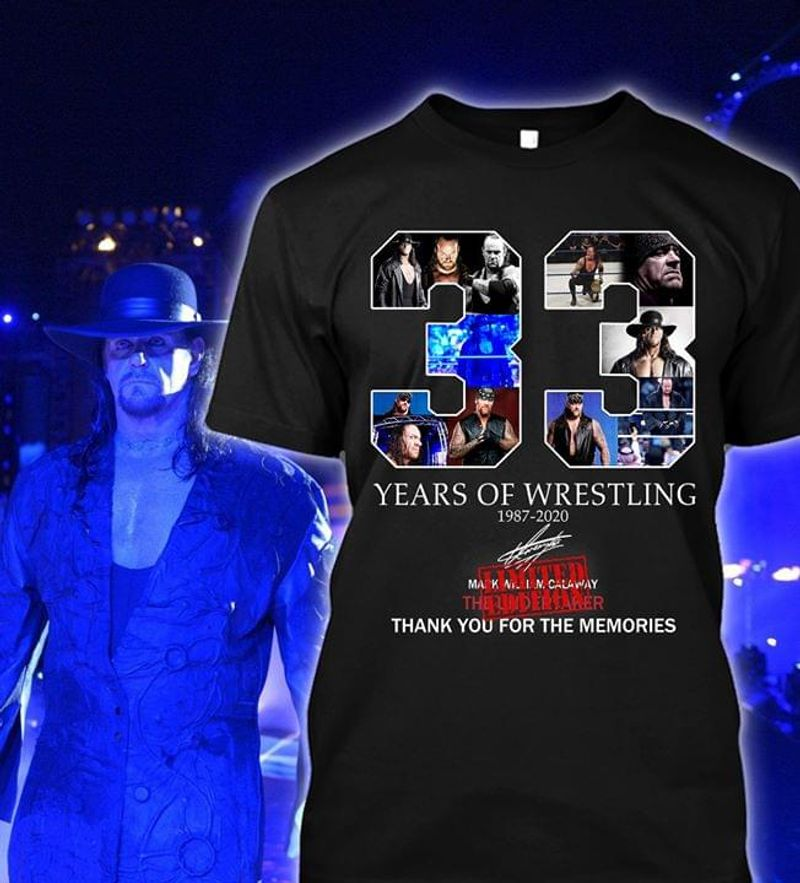 The Undertaker American Professional Wrestler Years Of Wrestling 1987-2020 Black T Shirt Men And Women S-6XL Cotton