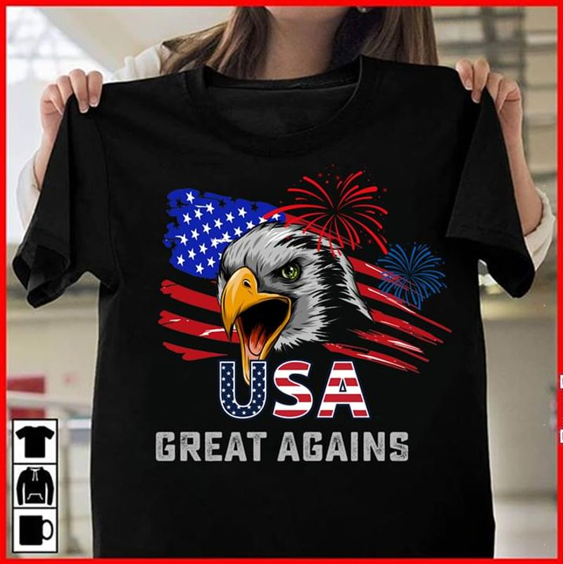 The USA Great Agains Independence Day 4th Of July Black T Shirt Men/ Woman S-6XL Cotton