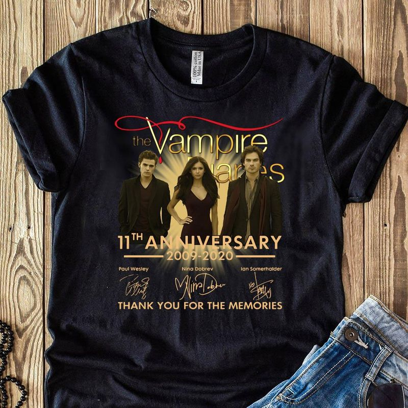 The Vampire Diaries 11th Anniversary 2009-2020 Signatures T Shirt Black