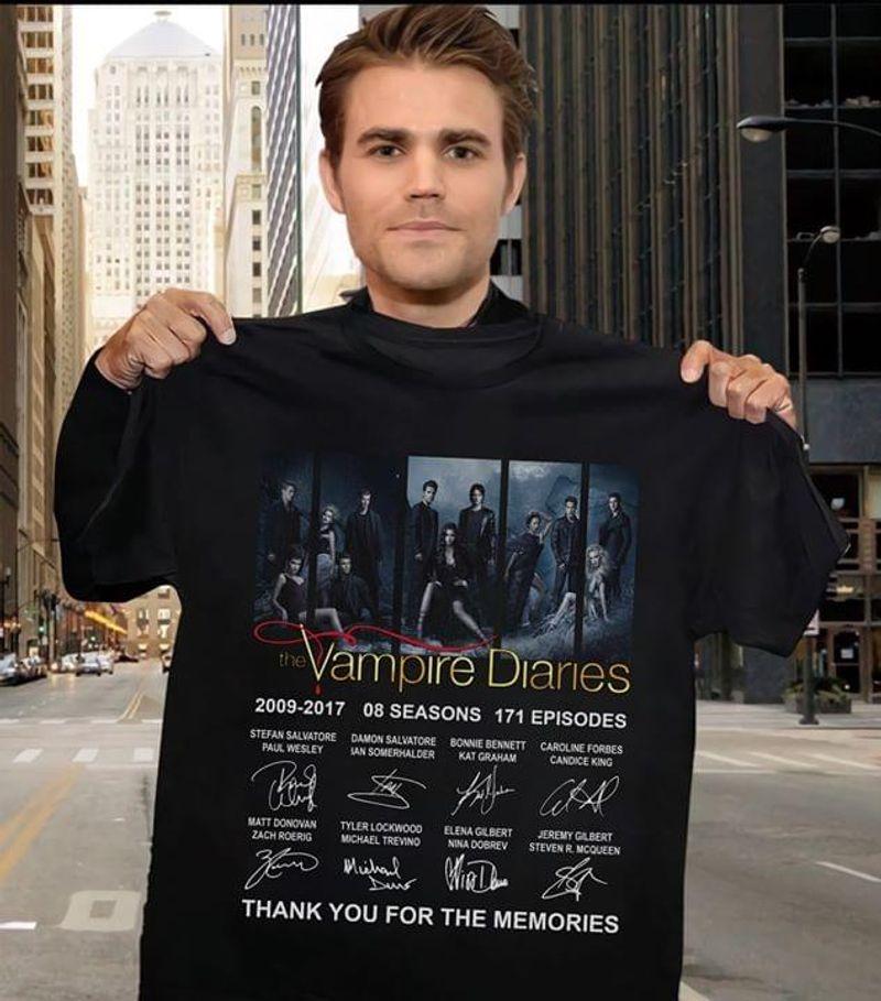 The Vampire Diaries Fans Thank You For The Memories Signature Black T Shirt Men/ Woman S-6XL Cotton