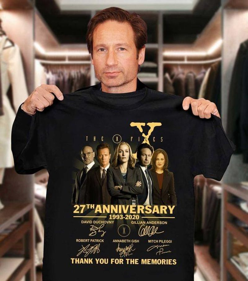 The X-files Fans Tee The X Files 27th Anniversary 1993 2020 Thank You For The Memories Black T Shirt Men And Women S-6XL Cotton