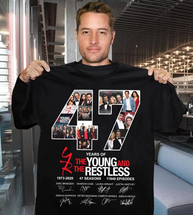 The Young And The Restless 47 Years Of 1973-2020 Character Signature Black T Shirt Men/ Woman S-6XL Cotton
