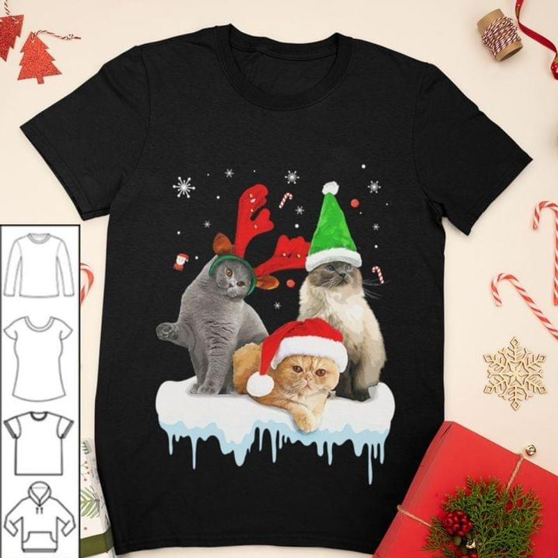 Three Cat Chirstmas Shirt Cat Lover Xmas Gift Idea Black T Shirt Men And Women S-6XL Cotton