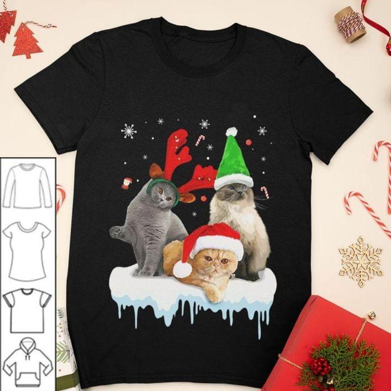 Three Cat Chirstmas Shirt Cat Lover Xmas Gift Idea Black T Shirt Men And Women S-6XL Cotton