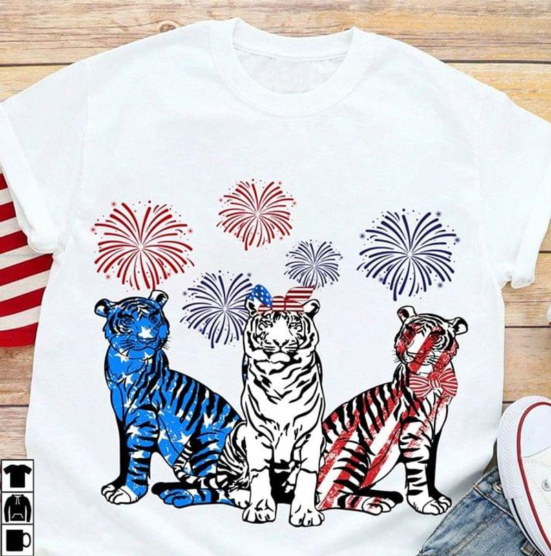 Tigers America Fireworks Independence Day 4th Of July T Shirt S-6XL Men And Women Clothing