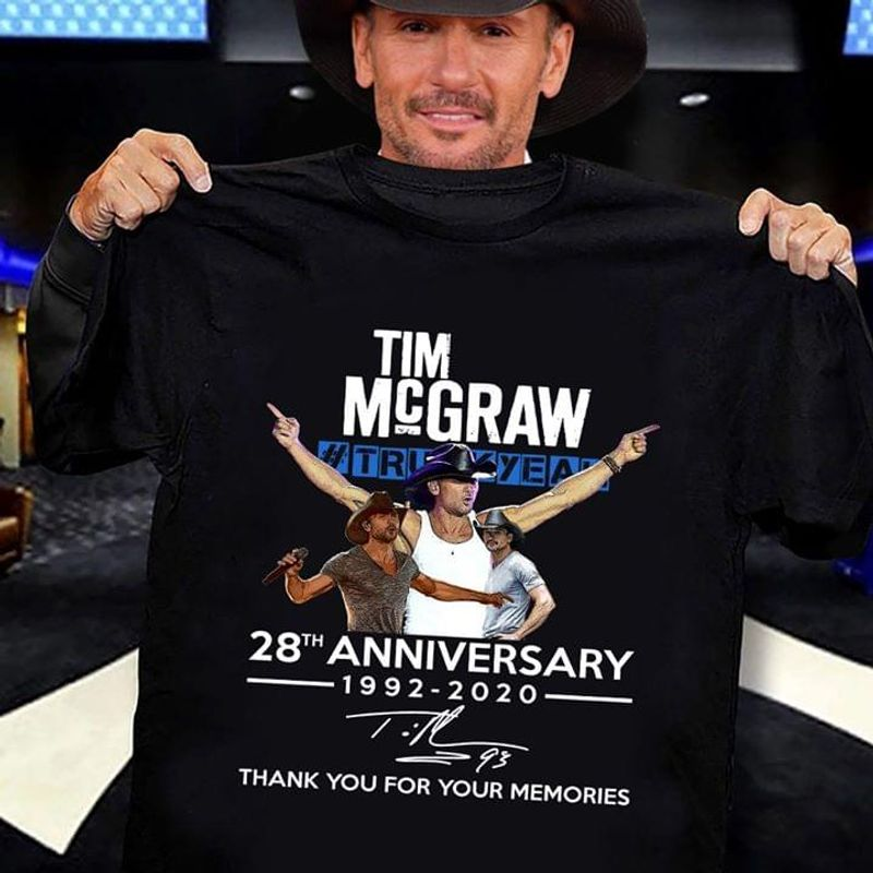 Tim McGraw 28th Anniversary Thank You For The Memories T Shirt S-6XL Mens And Women Clothing