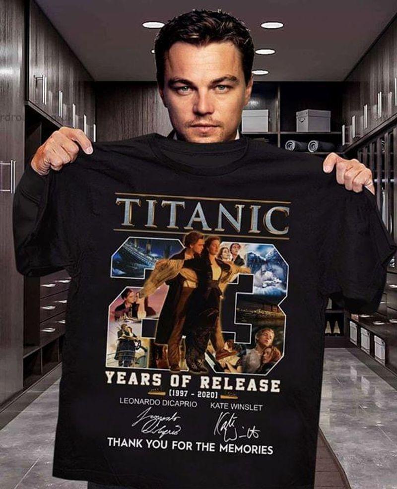 Titanic 23 Years Of Release 1997-2020 T-Shirt Titanic Anniversary Signature Black T Shirt Men And Women S-6XL Cotton