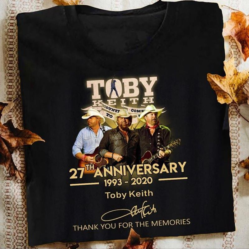 Toby Keith Lovers 27th Anniversary 1993 2020 Signature Shirt Black T Shirt Men And Women S-6XL Cotton