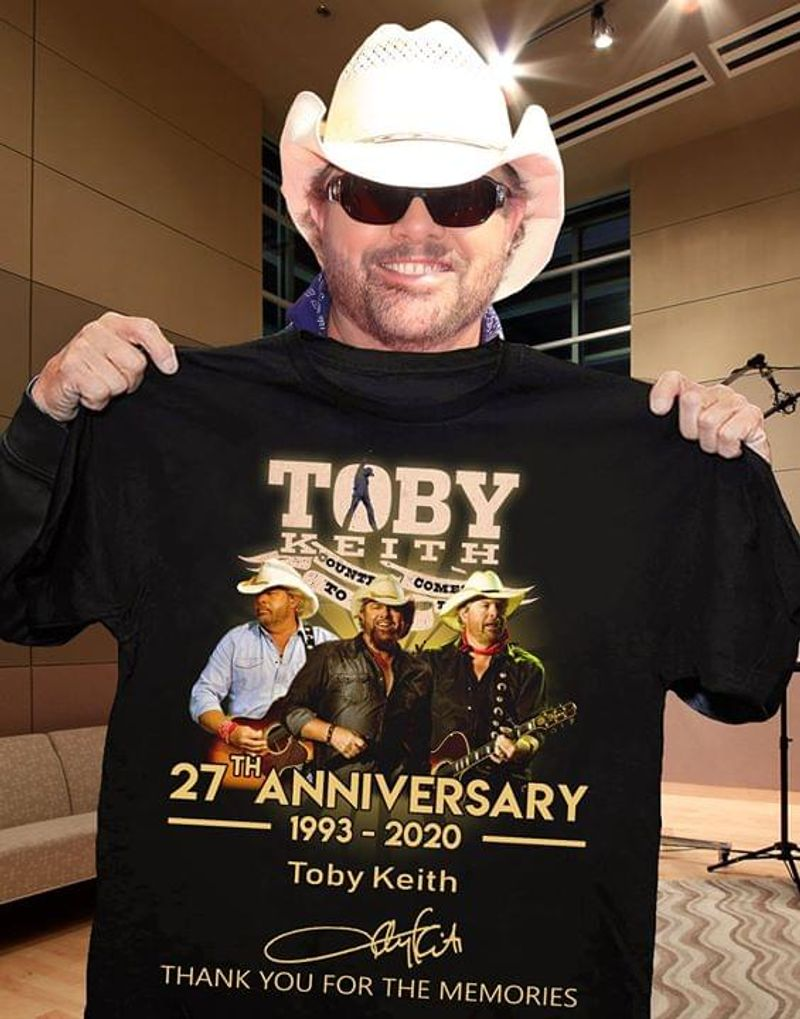 Toby Keith Singer 27th Anniversary Signature Thank For Memories Black T Shirt Men And Women S-6XL Cotton