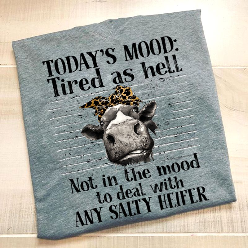 Today Is Mood Tired As Hell Not In The Mood To Deal With Any Salty Heifer  T Shirt Grey B1