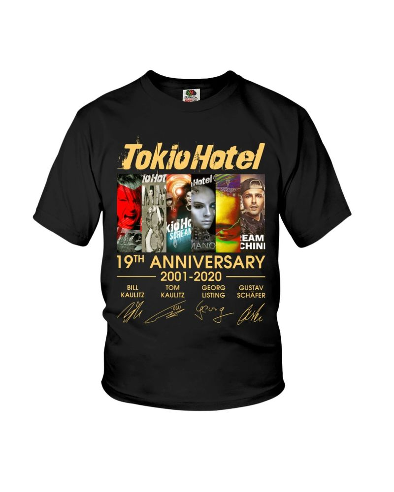 Tokio Hotel Fans 19th Anniversary Thank You For The Memories Signature Black T Shirt Men And Women S-6XL Cotton