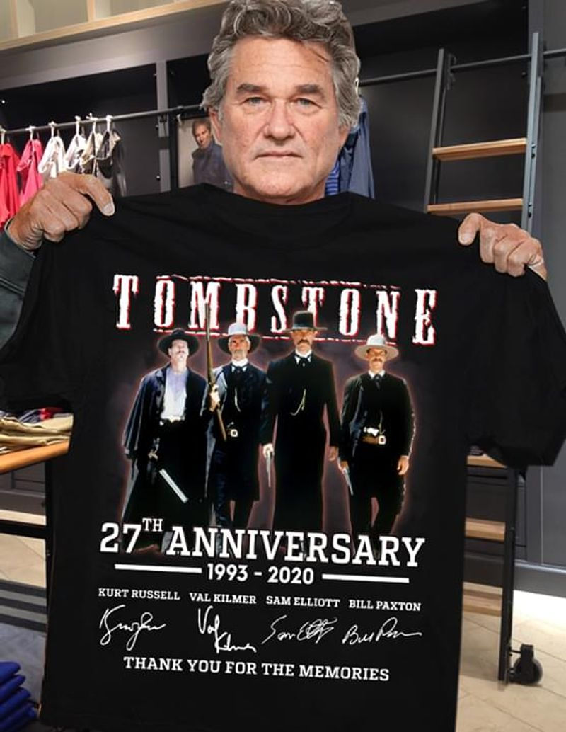 Tombstone 27Th Anniversary Thank You For The Memories Signatures Black T Shirt Men And Women S-6XL Cotton