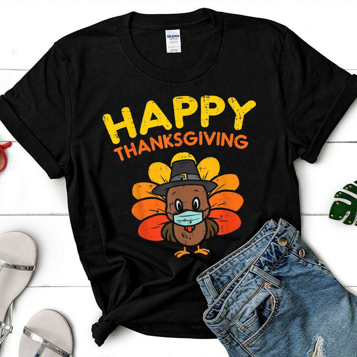 Trending Quarantine Happy Thanksgiving Turkey Funny Gift T-Shirt