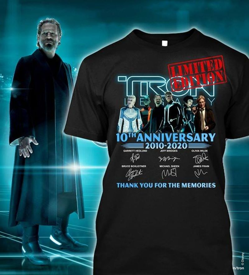 Tron: Legacy Characters 10th Anniversary Signature Thank You For The Memories Black T Shirt Men And Women S-6XL Cotton