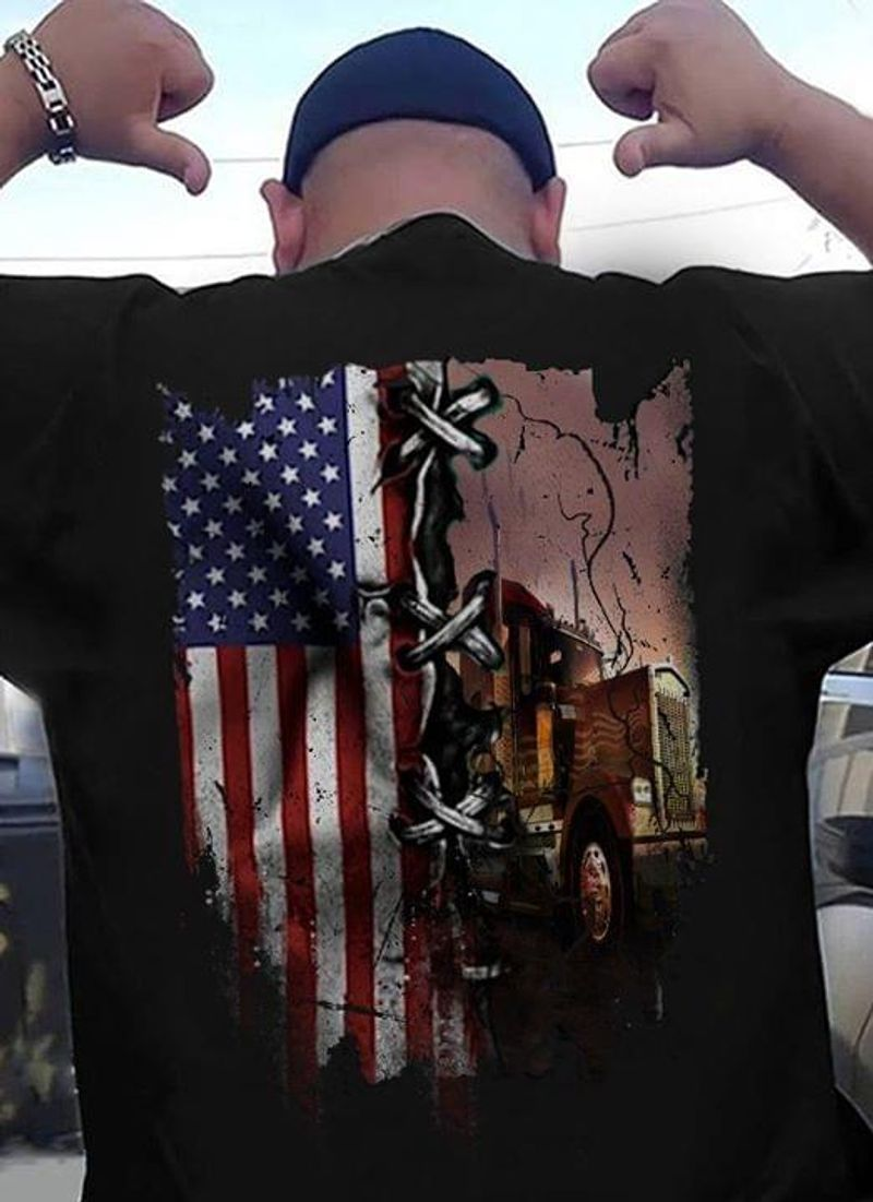 Trucker American Flag Proud To Be Trucker Shirt_Back_Side Black T Shirt Men And Women S-6XL Cotton
