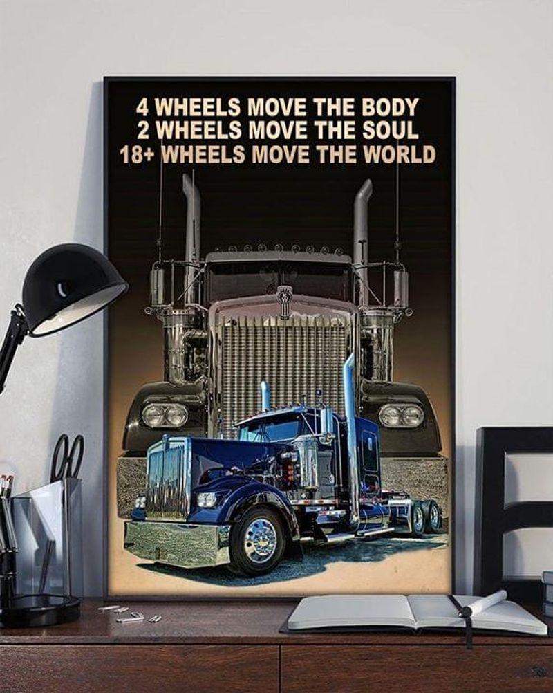 Trucker Wheels Move The Body Soul World T Shirt Men/ Woman S-6XL Cotton