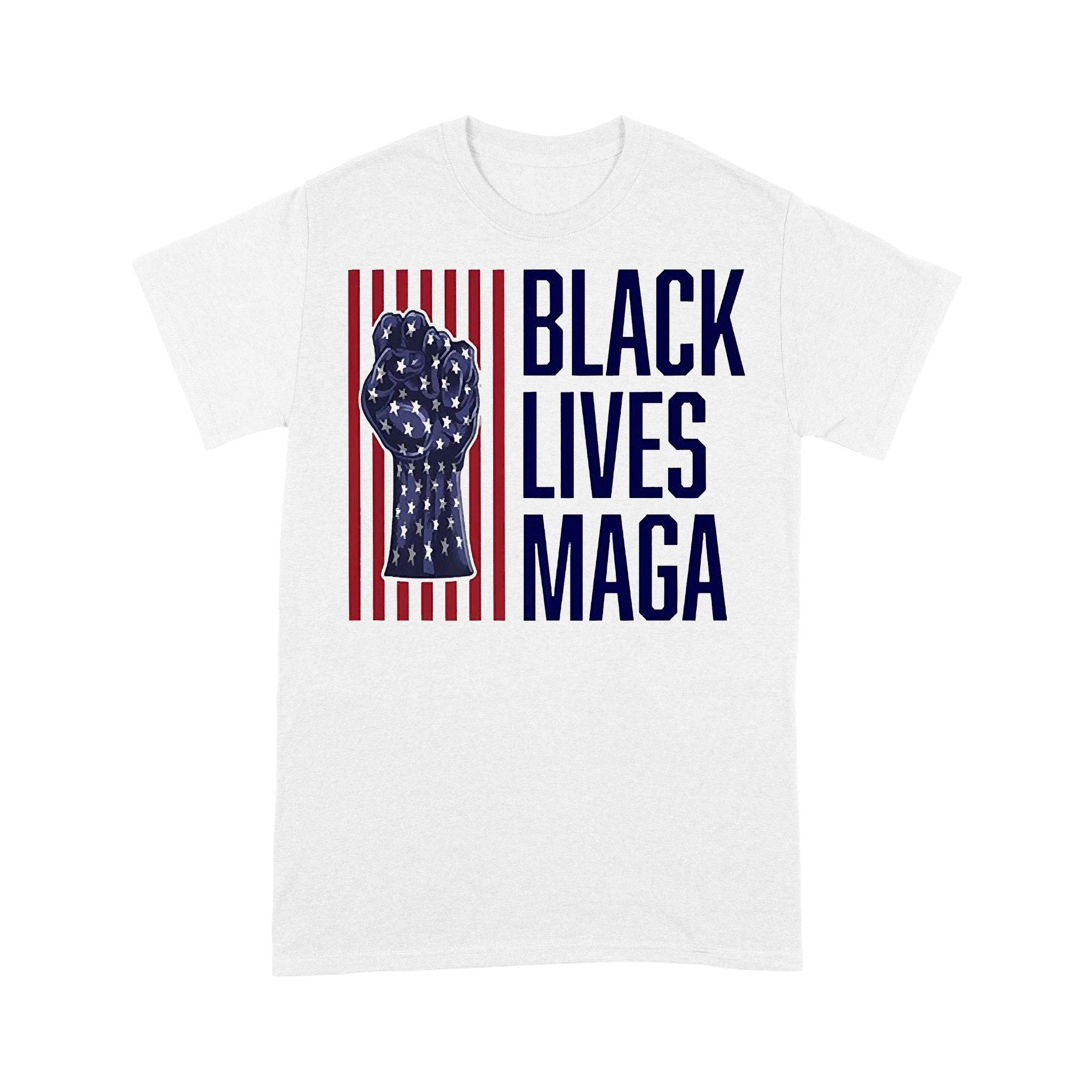 Trump Black Lives Maga American Flag T-shirt
