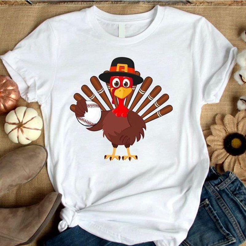 Turkey Baseball T Shirt Happy Thanksgiving Day Gift For Baseball Lovers White T Shirt Men And Women S-6XL Cotton