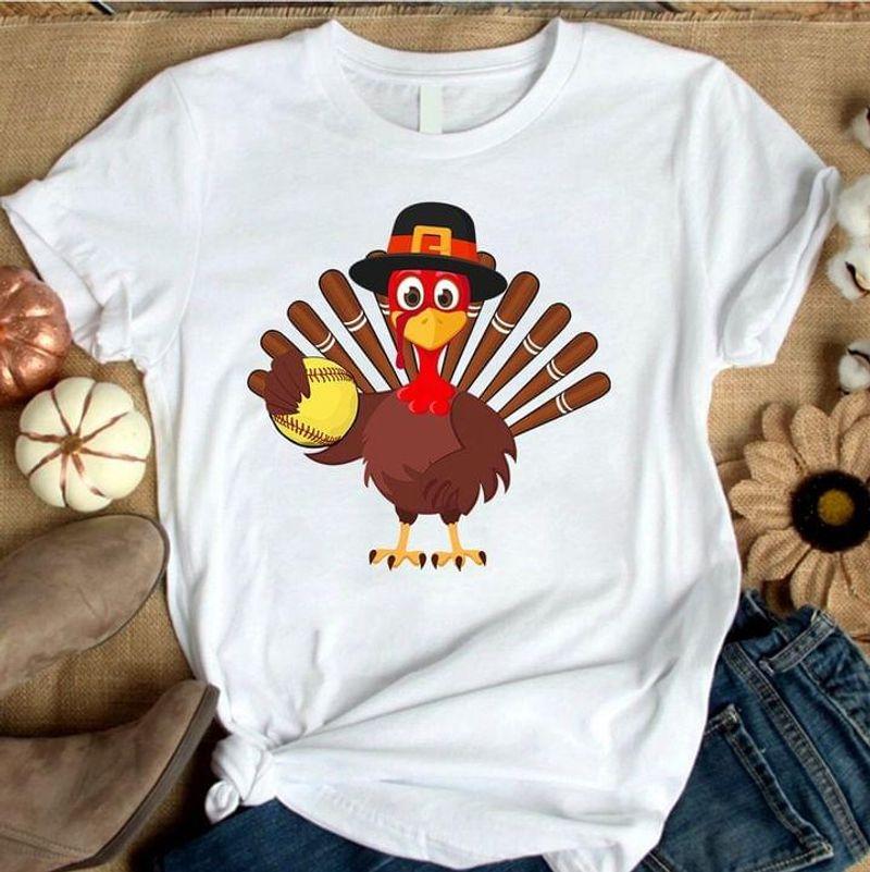 Turkey Softball Lover Thanksgiving Christmas Gift Idea White T Shirt Men And Women S-6XL Cotton