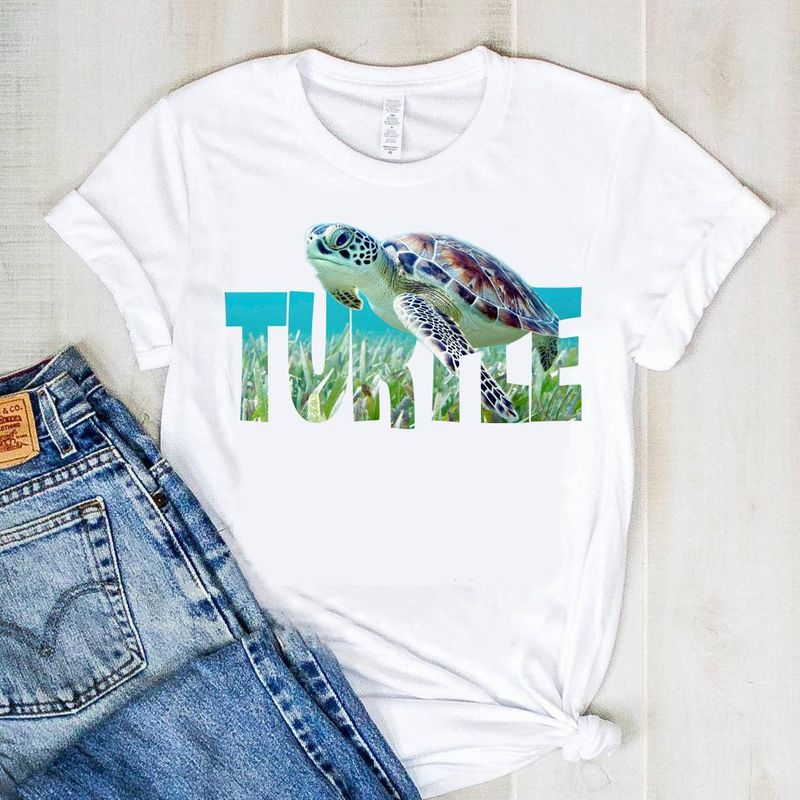 Turtle In The Deep Sea T Shirt White
