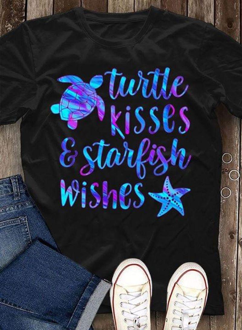Turtle Kisses & Starfish Wishes Black T Shirt Men/ Woman S-6XL Cotton