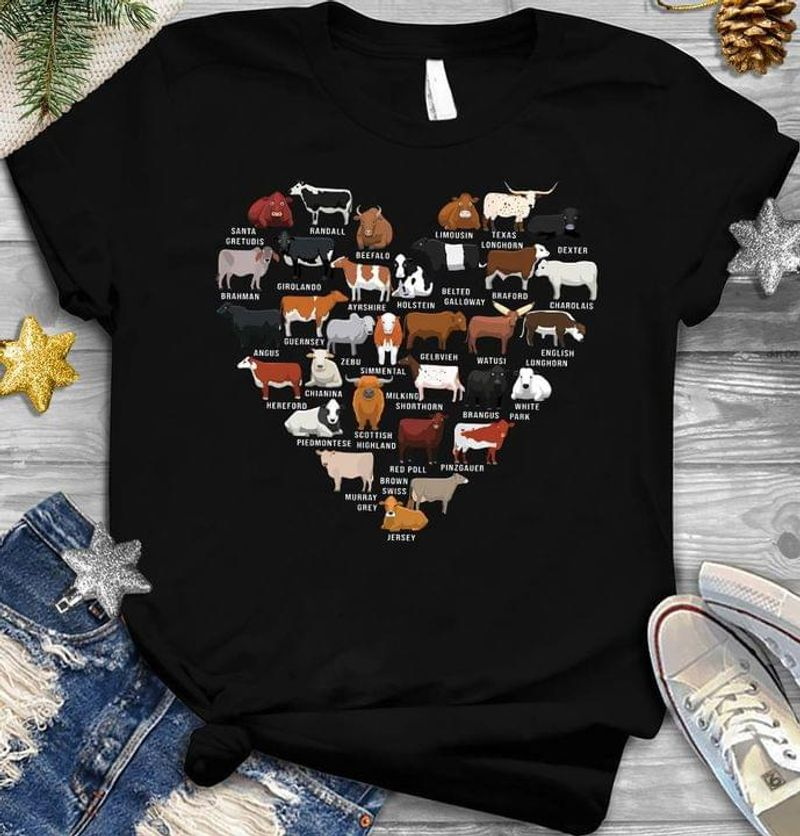 Types Of Cow T Shirt Cow Heart Cow Farming Tee Cow Lover Gift Farmer Gift Black T Shirt Men And Women S-6XL Cotton