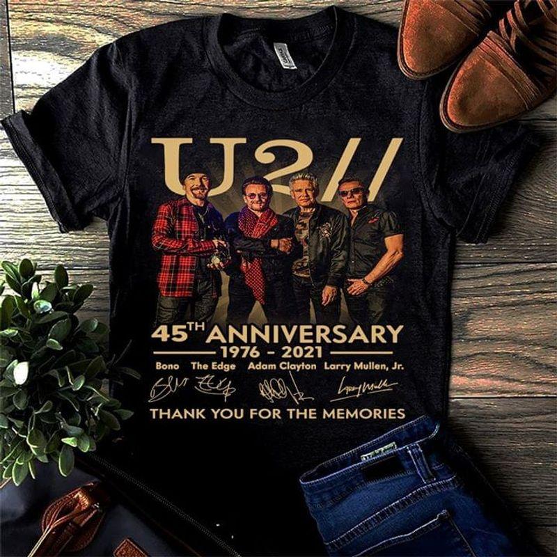 U2 Rock Band Anniversary Member Signatures Gifts For Fan Black T Shirt Men/ Woman S-6XL Cotton