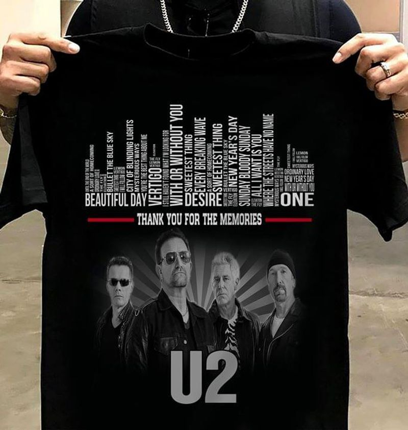 U2 Worldwide Fc Thank You For The Memories Beautiful Day Desire Vertigo Awesome Gift For U2 Lovers Black T Shirt S-6xl Mens And Women Clothing