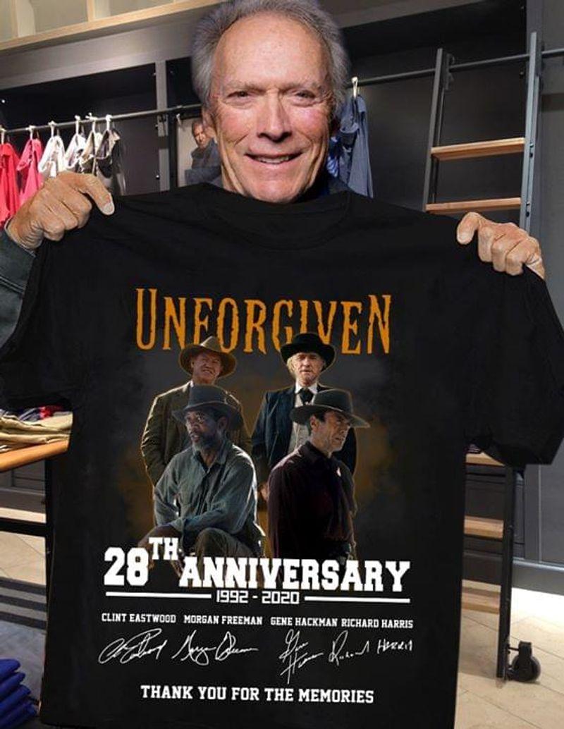 Unforgiven 28th Anniversary Thank You For The Memories T-Shirt Unforgiven Signed Black T Shirt Men And Women S-6XL Cotton