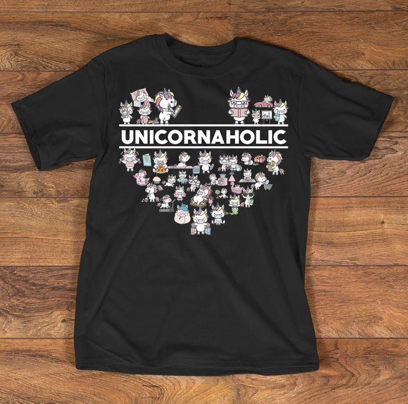 Unicorn Aholic T Shirt Black A5