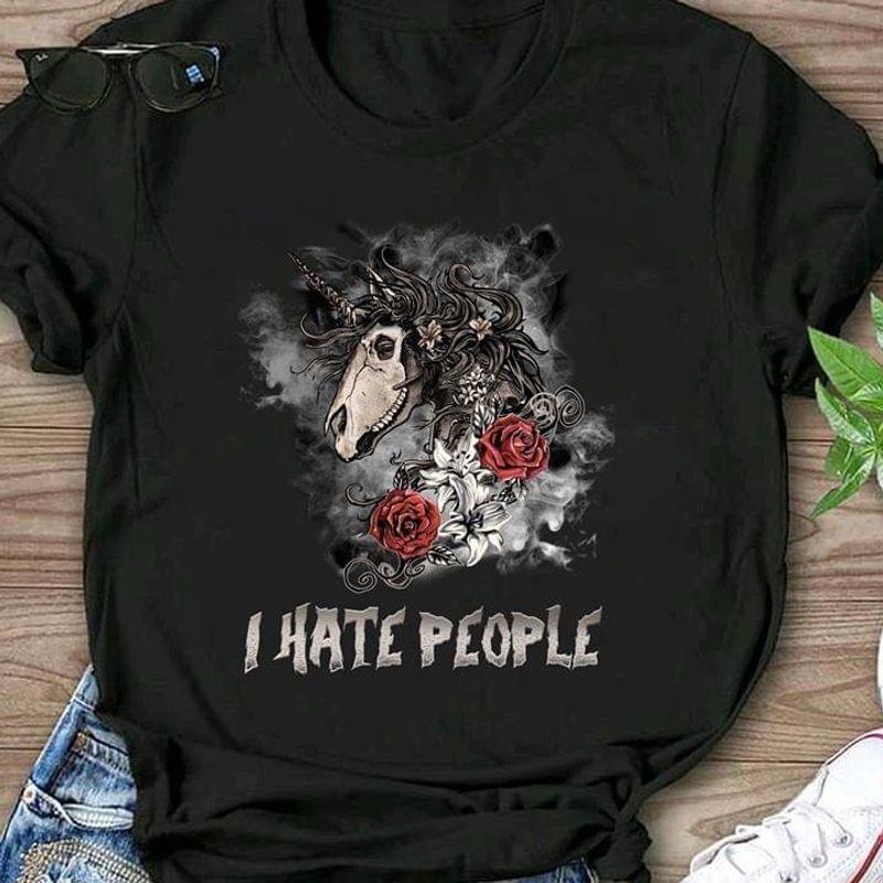 Unicorn Skull Roses I Hate People T Shirt Men/ Woman S-6XL Cotton