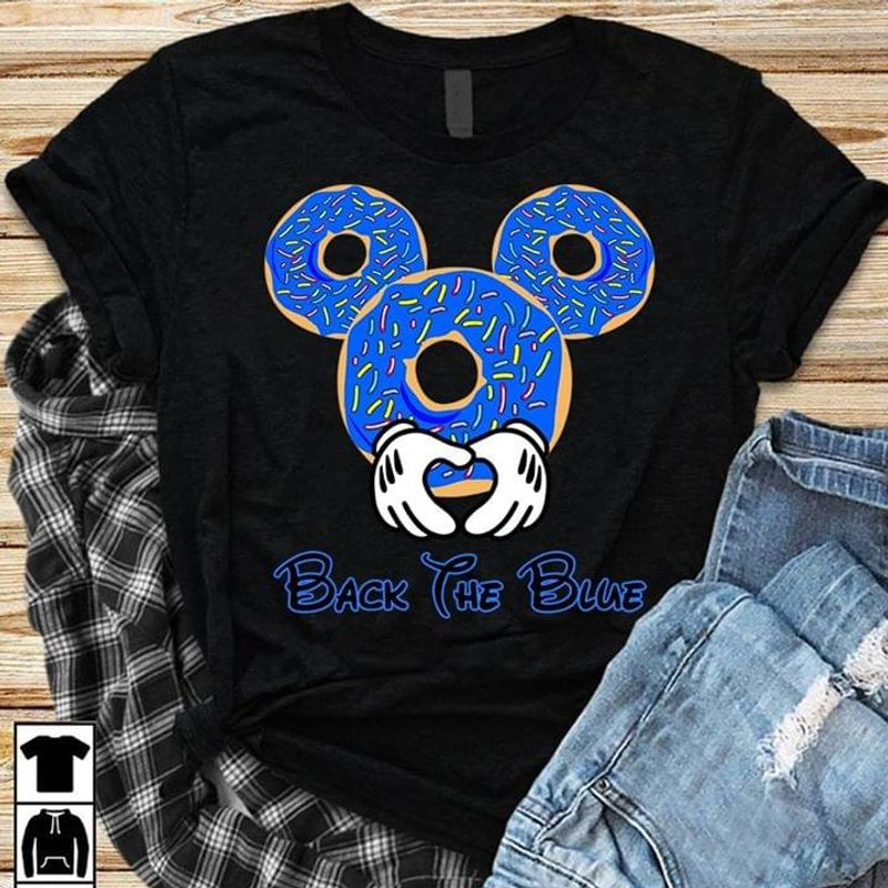Us Police Support Back The Blue Mickey Mouse Doughnuts Black T Shirt Men And Women S-6XL Cotton