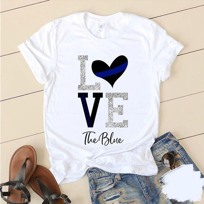 Us Police Support Love The Blue Back The Blue Thin Blue Line White T Shirt Men And Women S-6XL Cotton