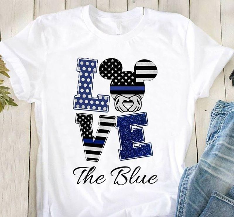 Us Police Support Love The Blue Mickey Mouse Thin Blue Line Flag White T Shirt Men And Women S-6XL Cotton