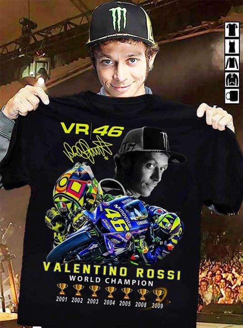 Valentino Rossi Fans Vr 46 World Champion Signature Black T Shirt Men/ Woman S-6XL Cotton
