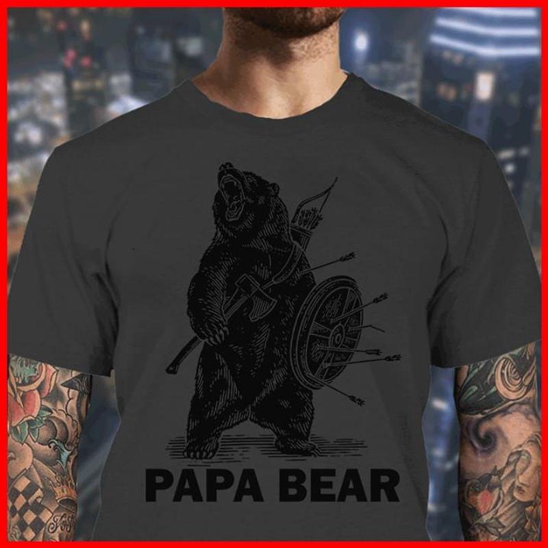 Valhalla Viking Papa Bear Lover Animal Dark Heather T Shirt Men And Women S-6xl Cotton