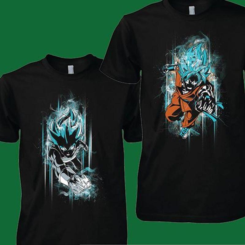 Vegeta And Songoku Super Saiyan Blue Back Front T Shirt Black