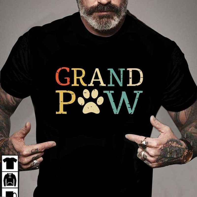 Vintage Dog Paw Dog Lovers Grand Paw A Great Father's Day Gift T Shirt S-6XL Mens And Women Clothing
