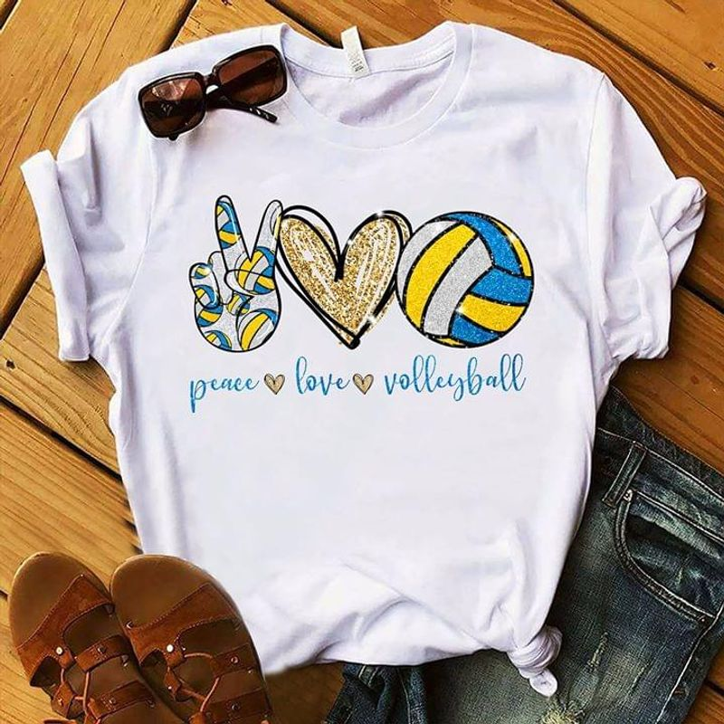 Volleyball Love Peace Love Volleyball You Rock Hand Sign Heart White T Shirt Men And Women S-6XL Cotton