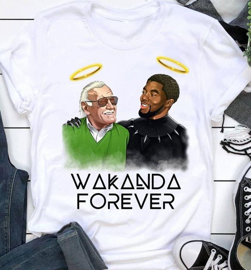 Wakanda Forever Tee Chadwick Black Panther And Stan Lee Angle Gift For Fans White T Shirt Men And Women S-6XL Cotton