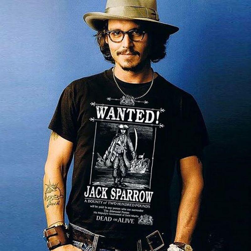 Wanted Jack Sparrow Dead Alive T-shirt Black B1
