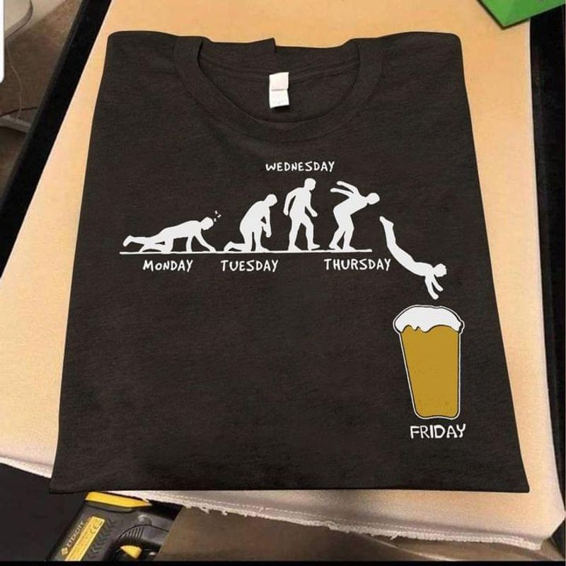 Wednesday Monday Tuesday Thursday Friday Funny Art Beer Lover Gift Idea Black T Shirt Men And Women S-6XL Cotton