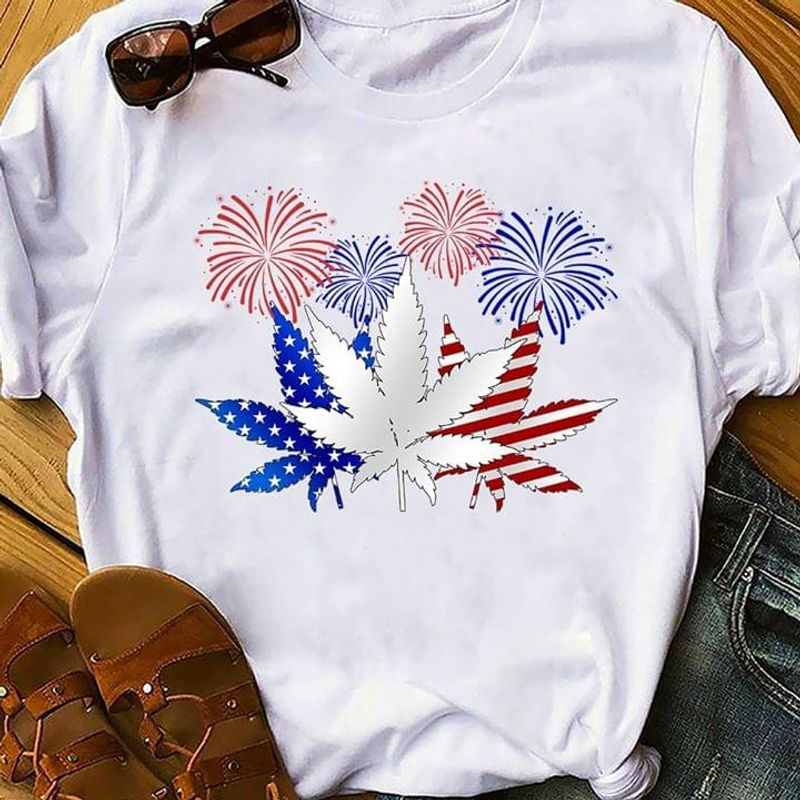 Weed American Fireworks Independence Day 4th Of July T Shirt White S-6XL Men And Women Clothing