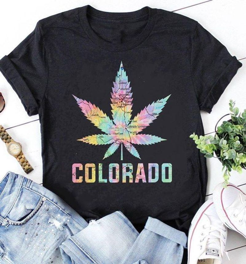 Weed Map Colorado America Love Country Design For Your Self Black T Shirt Men And Women S-6XL Cotton