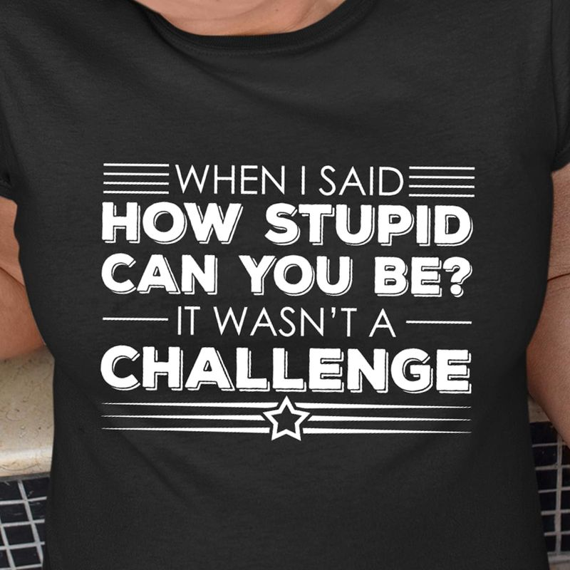 When I Said How Stupid Can You Be It Wasn't A Challenge Black T Shirt Men/ Woman S-6XL Cotton