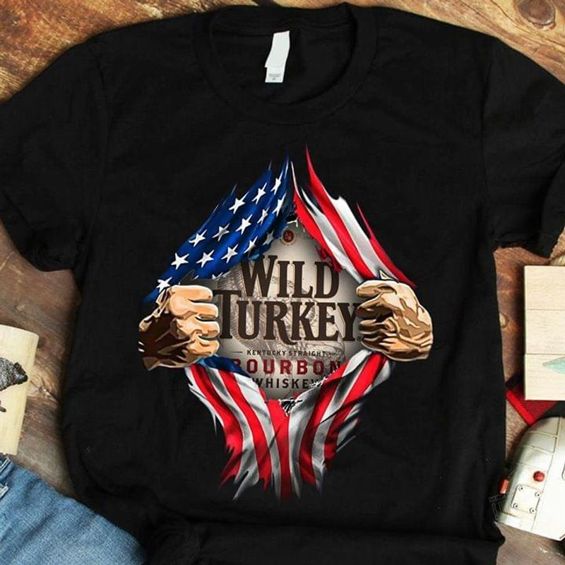 Wild Turkey Kentucky Straight Independence Day 4th Of July Black T Shirt Men/ Woman S-6XL Cotton