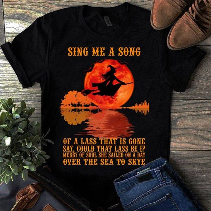 Witch Red Moon Guitar Sing Me A Song Of A Lass That Is Gonna Black T Shirt Men And Women S-6XL Cotton